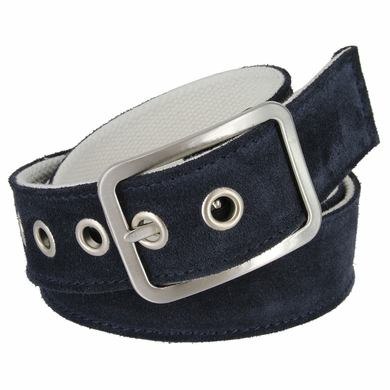 C075/40 Suede With Canvas Backing Center Buckle Belt Made In Italy - (Navy/White)