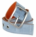 C075/40 Suede With Canvas Backing Center Buckle Belt Made In Italy - (Sky/Orange)2