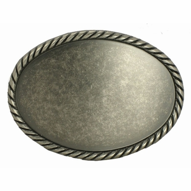 C175 Antique Silver Plain Oval Belt Buckle