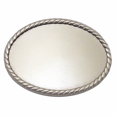 C175 Shiny Silver Plain Oval Belt Buckle