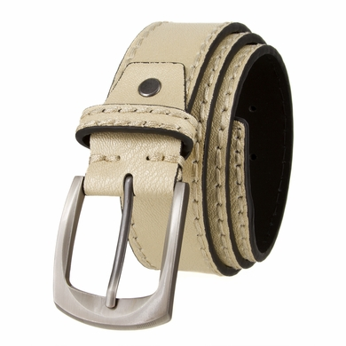 "Cable Genuine Leather Gun Metal Buckle Beige Golf Belt 1 1/2"" Wide"