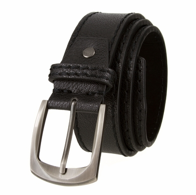 "Cable Genuine Leather Gun Metal Buckle Black Golf Belt 1 1/2"" Wide"