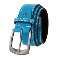 "Cable Genuine Leather Gun Metal Buckle Blue Golf Belt 1 1/2"" Wide"