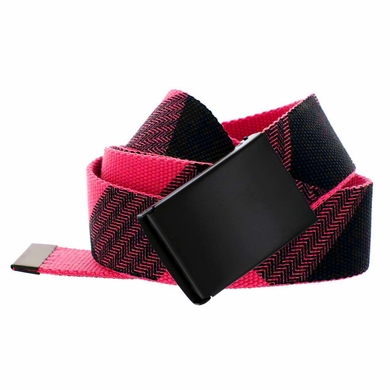 Canvas Military Web Style Belt Black Metal Buckle - Red/Black