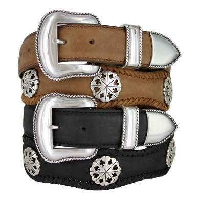 Card Suit Western Genuine Cowhide Leather Belt