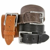 "Casual Belt Hand Crafted Made in USA Full Grain Cowhide Leather Belt 1-1/2"" wide"