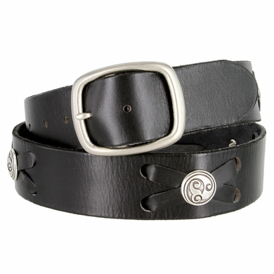 "Celtic Swirl Conchos Belt Genuine Full Grain Leather Belt 1-3/4"" Wide"