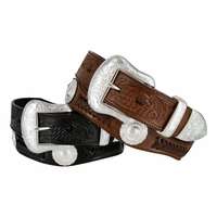 Cinquefoil Western Embossed Leather Conchos Belt