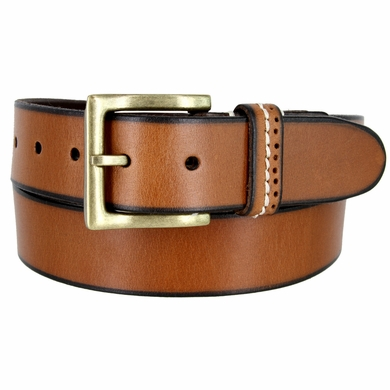 "Classic Genuine Leather Nickel Free Buckle Casual Dress Belt 1-1/2"" wide ND333644MN - TAN"