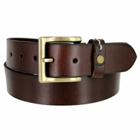 "Classic Genuine Leather Nickel Free Buckle Casual Dress Belt 1-1/2"" wide ND333646MN - BROWN"