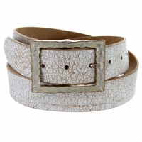 "Copper White Vintage Full Leather Belt 1-1/2"" Wide"