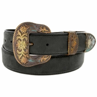 "Cowboy Western Antique Buckle Edge Stitch Leather Belt 1 1/2"" Wide - Black"