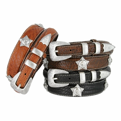 Cowboy Western Horsehead Star Concho Genuine Leather Bison Ranger Belt