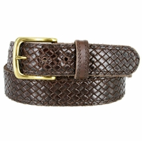 "Crossweave Braided Woven Full Grain Leather Casual Belt 1-1/2"" wide - Brown"