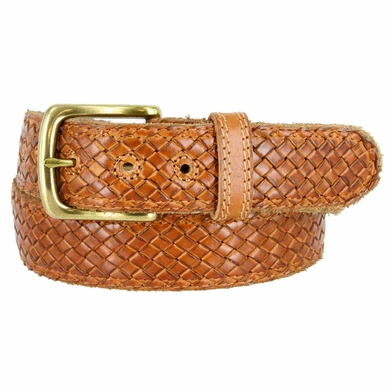 "Crossweave Braided Woven Full Grain Leather Casual Belt 1-1/2"" wide - Tan"