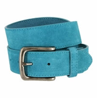 "CX160 Suede Leather Casual Jean Belts 1-1/2"" wide wide - Blue"