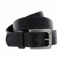 "Baxter Full Grain Vintage Black Leather Belt with Solid Roller Buckle 1-1/2"" Wide - Black"