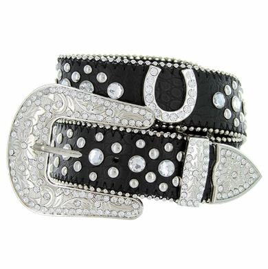 50125 Western Cowgirl Bling Horseshoe Rhinestone Leather Belt - Black