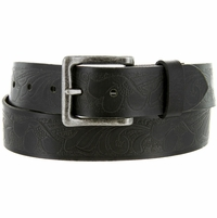"BS423-4105 Full Grain Floral Embossed Casual Leather Jean Belt 1. 5"" Wide"