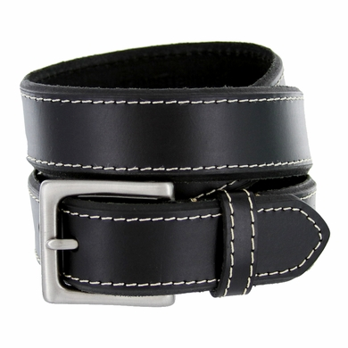 "Men's Genuine Leather Dress Belt 1-3/8"" Wide - Black"