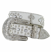 50127 Rhinestone Belt White