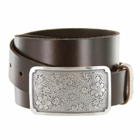 "Western Floral Antique Engraved Buckle Genuine Full Grain Leather Casual Jean Belt 1-1/2""(38mm) Wide"