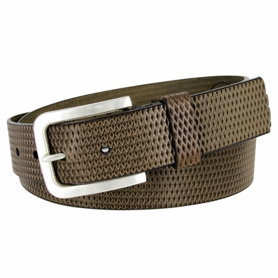 LeJon Diamond Patterned Genuine Italian Saddle Leather Casual Belt - Brown