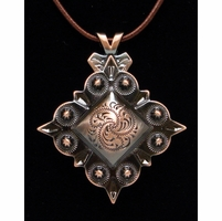 Diamond Shape Berry Concho Antique Copper Finish Necklace