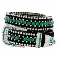 "DM1006 Women's Rhinestones Studded Leather fashion Belt 1-1/4"" Wide - Green"