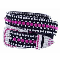 "DM1006 Women's Rhinestones Studded Leather fashion Belt 1-1/4"" Wide - Hot Pink"