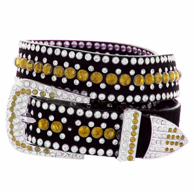"DM1006 Women's Rhinestones Studded Leather fashion Belt 1-1/4"" Wide - Yellow"