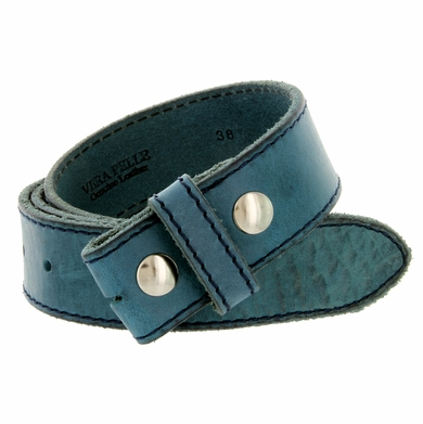 "E051 One Piece 100% Full Genuine Leather Belt Strap 1-1/2"" (38mm) - Blue"
