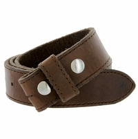 "E051 One Piece 100% Full Genuine Leather Belt Strap 1-1/2"" (38mm) Made In Italy - Brown"
