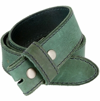 "E051 One Piece 100% Full Genuine Leather Belt Strap 1-1/2"" (38mm) Wide - Sea Green"