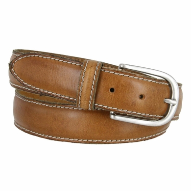"E062/35 Men's Italian Leather Casual Dress Belt 1-3/8"" Wide Made in Italy - Cognac"