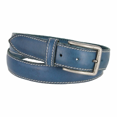 "E063/35 Men's Italian Leather Casual Dress Belt 1-3/8"" Wide Made in Italy - Ocean"