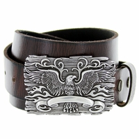 Eagle Crest Belt Buckle Casual Jean Leather Belt