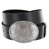 "Western Antique Floral Engraved Buckle Genuine Full Grain Leather Casual Jean Belt 1-1/2""(38mm) Wide"