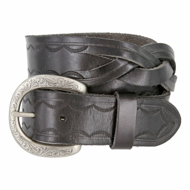 """Engraved Buckle with Woven Tooled Full Grain Leather Belt 1-1/2"""" Wide-Black"""