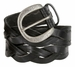 """Engraved Buckle with Woven Tooled Full Grain Leather Belt 1-1/2"""" Wide-Black2"""