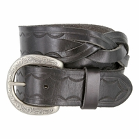"Engraved Buckle with Woven Tooled Full Grain Leather Belt 1-1/2"" Wide-Black"