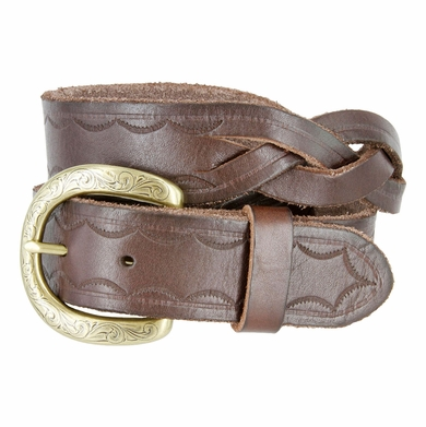 "Engraved Buckle with Woven Tooled Full Grain Leather Belt 1-1/2"" Wide-Brown"