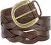 "Engraved Buckle with Woven Tooled Full Grain Leather Belt 1-1/2"" Wide-Brown2"