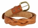 "Engraved Buckle with Woven Tooled Full Grain Leather Belt 1-1/2"" Wide-Tan1"