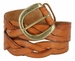 """Engraved Buckle with Woven Tooled Full Grain Leather Belt 1-1/2"""" Wide-Tan2"""