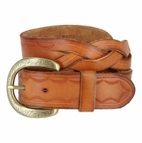 "Engraved Buckle with Woven Tooled Full Grain Leather Belt 1-1/2"" Wide-Tan"