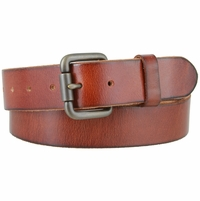 Falcon Vintage Full Grain Leather Brass Roller Buckle Belt - Tan