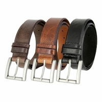 "Feathered Vintage Genuine Leather Roller Buckle Belt 1-1/2"" Wide"
