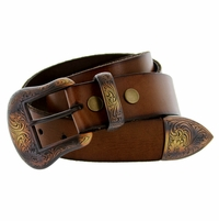 "Fire Mountain Men's Western Full Grain Leather Belt 1 1/2"" Wide"