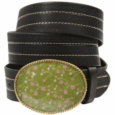 "Floral Serenity Genuine Full-Grain Leather Belt 1 1/2"" Wide-Black"